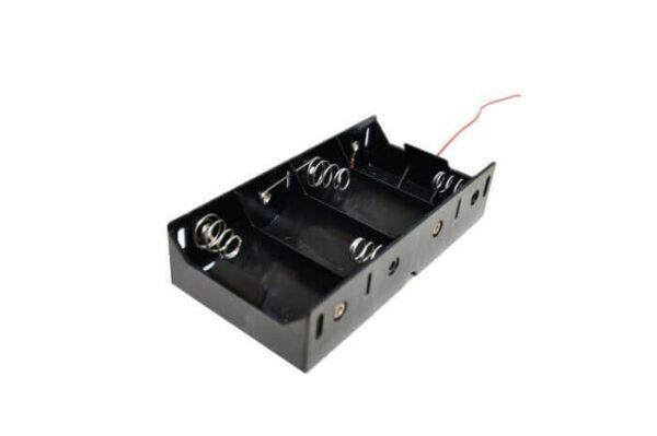Batteriholder D X4 6V med ledninger
