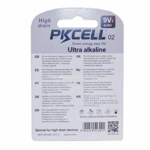 PKCELL 9V batteri alkaline
