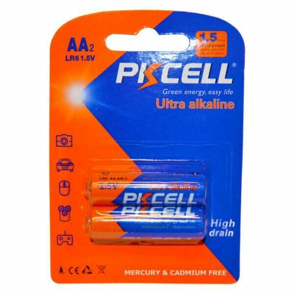 2 STK PKCELL AA batterier alkaline