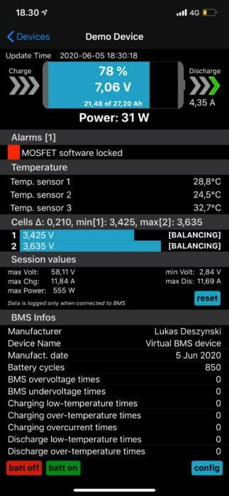 BMS 10S 40A med bluetooth Li-ion/Li-Po 36V